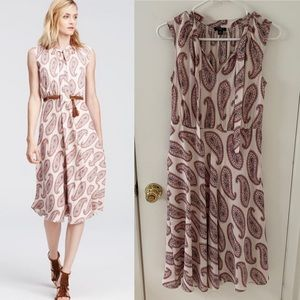 Ann Taylor Paisley Tie Neck Midi Dress